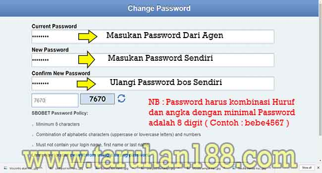 Tampilan SBOBET Mobile Cara Ganti Password
